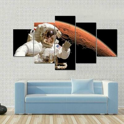 American Astronaut Above Mars Space - 5 Panel Canvas Print Wall Art Set