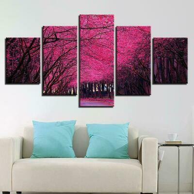 Jacaranda Trees - 5 Panel Canvas Print Wall Art Set