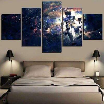 Astronaut and Space - 5 Panel Canvas Print Wall Art Set