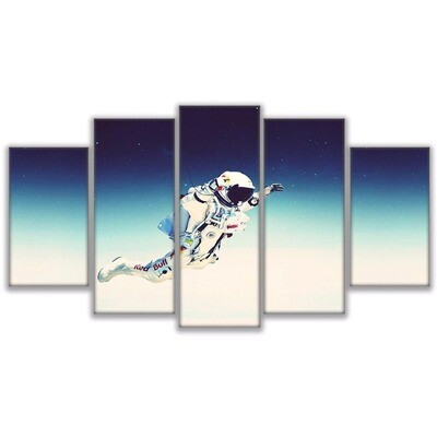 Astronaut In Space Pictures- 5 Panel Canvas Print Wall Art Set