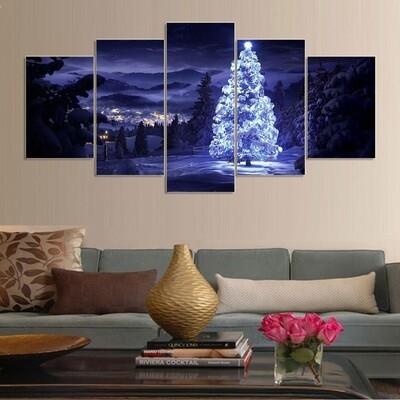 Led Tree - 5 Panel Canvas Print Wall Art Set