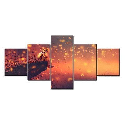 Astronaut Sitting on Cliff Edge Looking - 5 Panel Canvas Print Wall Art Set