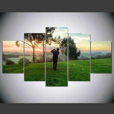 Playing Golf Sunrise Landscape - 5 Panel Canvas Print Wall Art Set