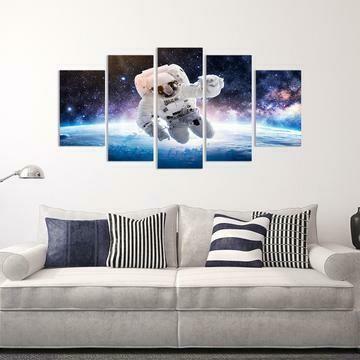 Astronaut Space Walker - 5 Panel Canvas Print Wall Art Set