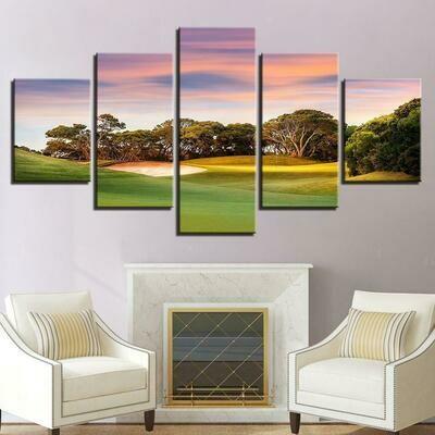Sunset Golf Pink Sky - 5 Panel Canvas Print Wall Art Set