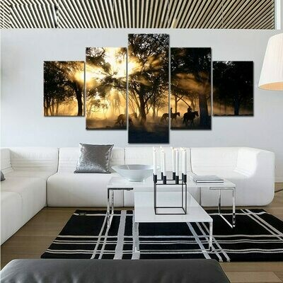 Morning Sunrise Forest Tree Horses - 5 Panel Canvas Print Wall Art Set