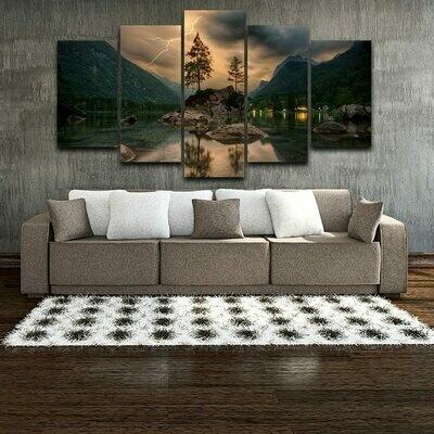 Mountain Lake Lightning Tree - 5 Panel Canvas Print Wall Art Set