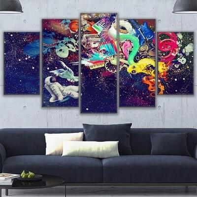 Astronauts Marvelous Travel - 5 Panel Canvas Print Wall Art Set