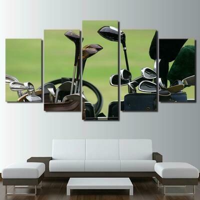 Vintage Golf Clubs - 5 Panel Canvas Print Wall Art Set