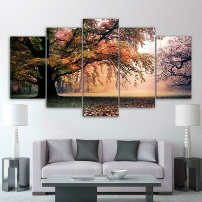 Old Big Tree - 5 Panel Canvas Print Wall Art Set
