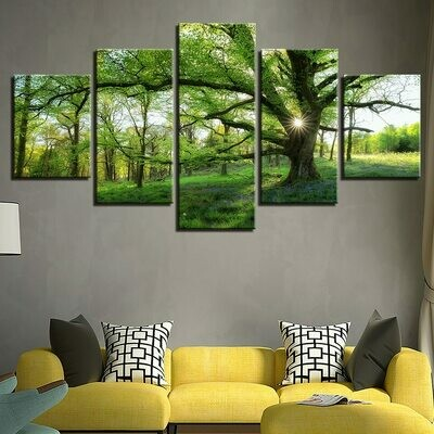 Forest Green Trees - 5 Panel Canvas Print Wall Art Set