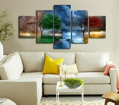 Four Season Tree Painting - 5 Panel Canvas Print Wall Art Set