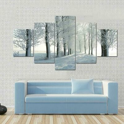 Frosted Trees - 5 Panel Canvas Print Wall Art Set