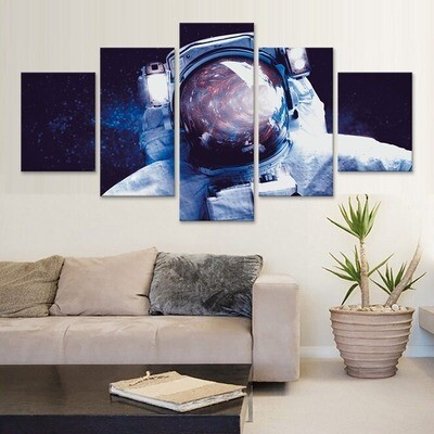 Astronaut Abstract - 5 Panel Canvas Print Wall Art Set