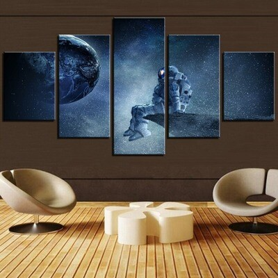 Astronaut And Moon Universe Pictures - 5 Panel Canvas Print Wall Art Set