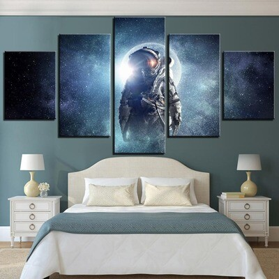 Astronaut in the Space- 5 Panel Canvas Print Wall Art Set