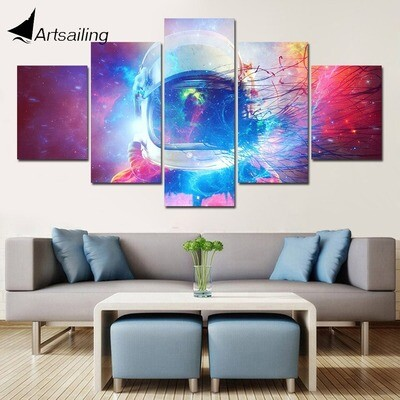 Astronaut Large- 5 Panel Canvas Print Wall Art Set