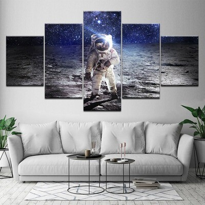 Astronaut OnThe Moon Space - 5 Panel Canvas Print Wall Art Set