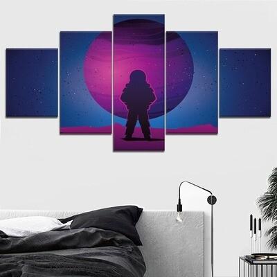 Astronaut Purple Planet Cuadros Decoracion - 5 Panel Canvas Print Wall Art Set