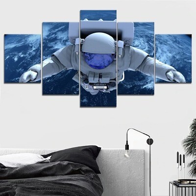 Astronaut Space Earth Cuadros Landscape - 5 Panel Canvas Print Wall Art Set