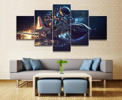 Astronaut Space Travel - 5 Panel Canvas Print Wall Art Set