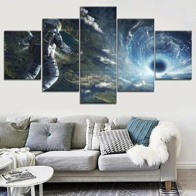 Astronaut Tunnel - 5 Panel Canvas Print Wall Art Set