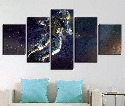 Astronaut Vintage Abstract Poster - 5 Panel Canvas Print Wall Art Set