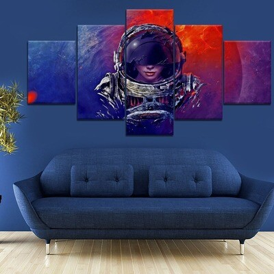 Astronauts Girl Planet Outer Space Cuadros Decoracion - 5 Panel Canvas Print Wall Art Set