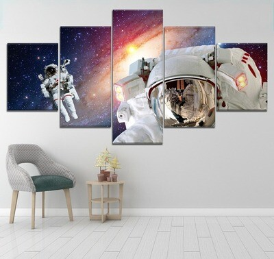 Astronauts Outer Space - 5 Panel Canvas Print Wall Art Set