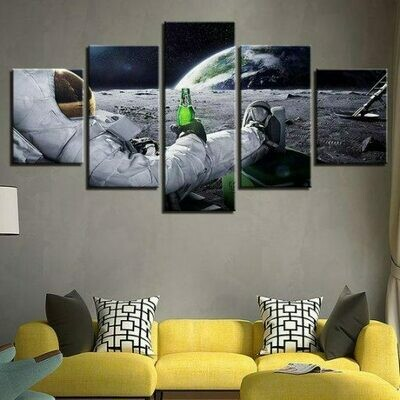 Beer Drinking Astronaut - 5 Panel Canvas Print Wall Art Set