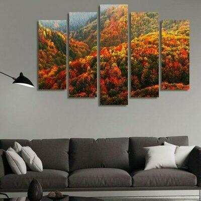 Hill Of Trees - 5 Panel Canvas Print Wall Art Set