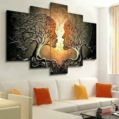 Kiss Tree - 5 Panel Canvas Print Wall Art Set