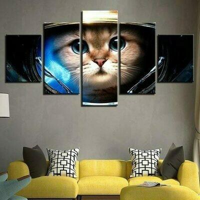 Astronaut Cat Face Astronaut Kitten - 5 Panel Canvas Print Wall Art Set