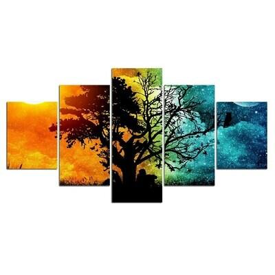 Landscape Tree Sky Wall - 5 Panel Canvas Print Wall Art Set