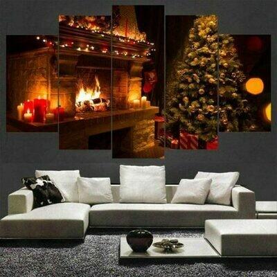 Large Christmas Tree - 5 Panel Canvas Print Wall Art Set