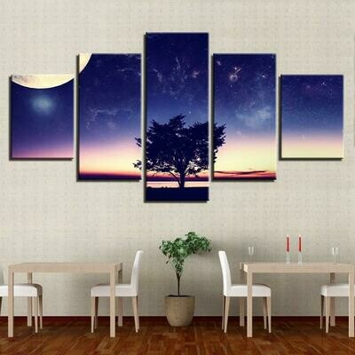 Moon And Trees - 5 Panel Canvas Print Wall Art Set