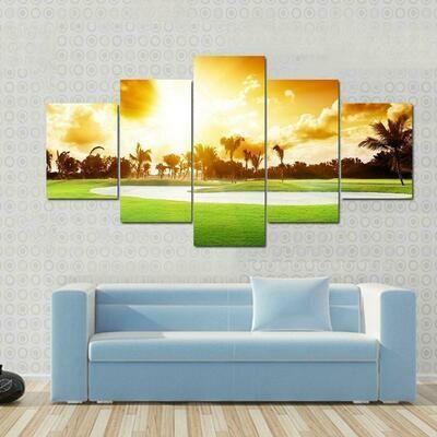 Sunset On Golf - 5 Panel Canvas Print Wall Art Set