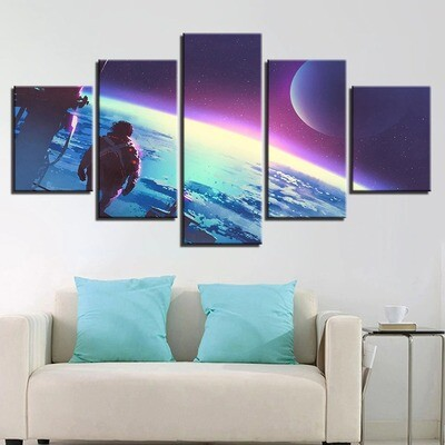 Astronauts Landed On The Moon - 5 Panel Canvas Print Wall Art Set