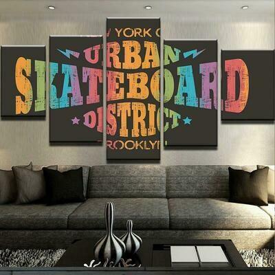 Urban Skateboard District - 5 Panel Canvas Print Wall Art Set