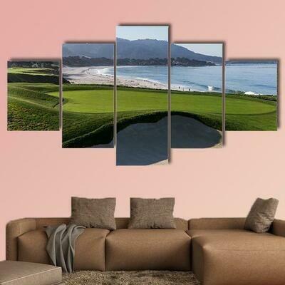 Pebble Beach Golf Course In California - 5 Panel Canvas Print Wall Art Set