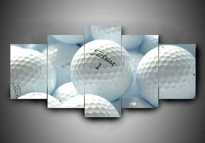 White Golf - 5 Panel Canvas Print Wall Art Set