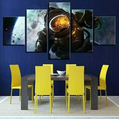 Astronauts Space - 5 Panel Canvas Print Wall Art Set