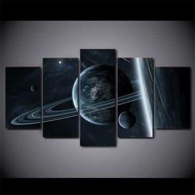 Interstellar Mystery Astronaut - 5 Panel Canvas Print Wall Art Set