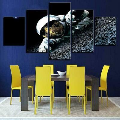 Astronauts Landscape - 5 Panel Canvas Print Wall Art Set