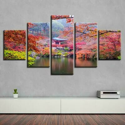 Pavilion Tree Lake - 5 Panel Canvas Print Wall Art Set