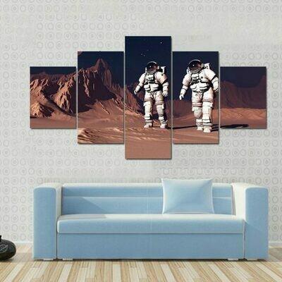 Astronauts Walking On Mars Surface - 5 Panel Canvas Print Wall Art Set