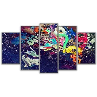 Dream Astronauts Marvelous Travel - 5 Panel Canvas Print Wall Art Set