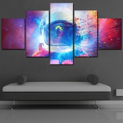 Starry Sky Landscape Abstract Astronaut - 5 Panel Canvas Print Wall Art Set