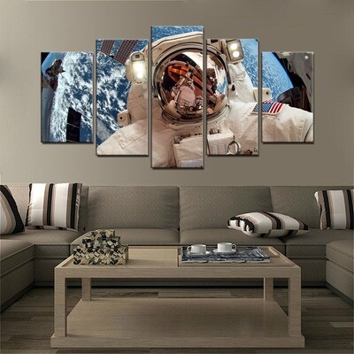 The American Astronauts in Space - 5 Panel Canvas Print Wall Art Set