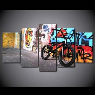 Abstract Bike - 5 Panel Canvas Print Wall Art Set